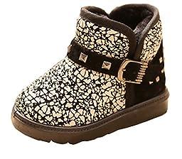 Cattior Toddler Little Kid Rivet Buckle Walking Boots Shoes for Kids (1 M, Black)