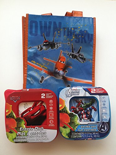"One Disney Planes Reusable Tote (8""X10""X5"")+ One Disney Pixar Cars Entrée Dish Set (Consists Of 2 Containers & Lids , 11.5 Fl Oz Each, Bpa Free, Freezer, Dishwasher, Microwave Safe)+ One Marvel Avengers Assemble Entrée Dish Set (Consists Of 2 Containers &"