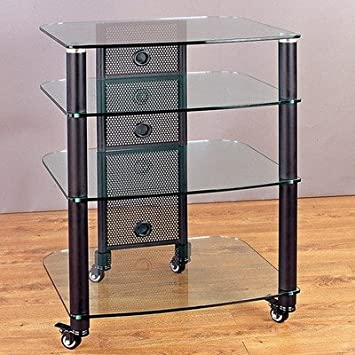 "25"" TV Stand Frame: Black, Glass Color: Tinted Black, Shelves: 5 Shelves"