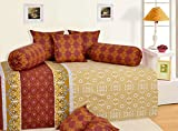 Salona Bichona Reactive Geometric Brown Diwan 8 Piece Set