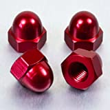 Aluminium Dome Nut M10 (Din 1587) Red