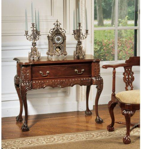 Cheap HandCarved Solid Mahogany Antique Replica Console Table (AF7342)