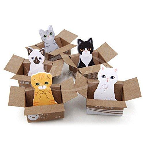 かわいい 箱入り 猫 - ひろって ニャンコ 付箋 - 5種類 x 30枚 豪華150枚 癒しの ネコ 付箋 メモ マーカー