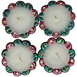 Diyas - Set Of 4 Beautifully Handcrafted Decorated Diyas With Wax For Puja Diwali Decoration Home Decor Gift Collection Puja Home Decoration For Festivals Home Decoration