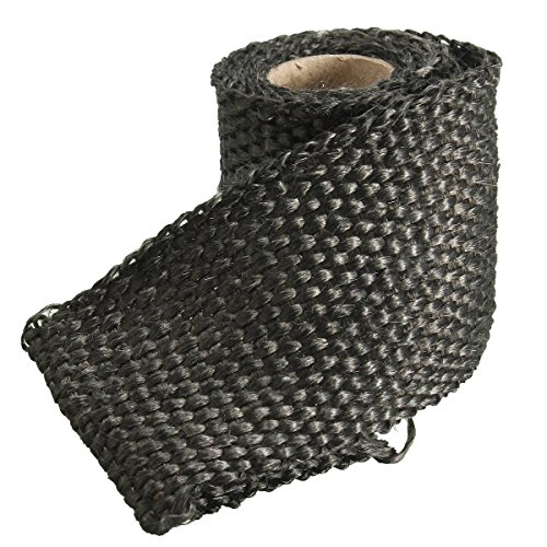 AUDEW 3ft x 2 Inch Exhaust Heat Wrap Fiberglass Heat Shield Tape for Motorcycle Protection 4 Colors Optional Black 2
