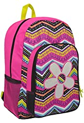 17 inch Fun Flower & Zigzags Pattern Kids School Bag / Pink Bookbag / Backpack for Girl - MyGift