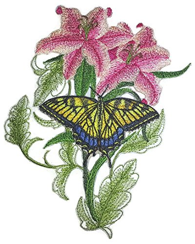 custom-and-unique-blooms-and-butterflies-swallowtail-butterfly-and-lilies-embroidered-iron-on-sew-pa