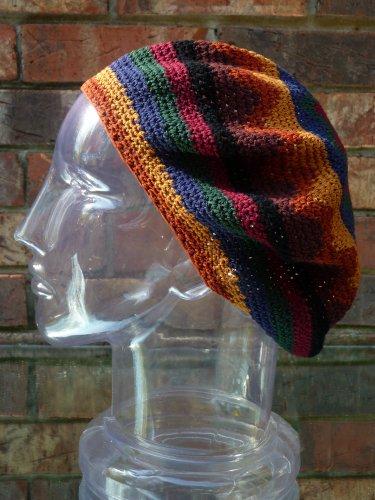 Tam Beret Hat Earthtone Crochet Knit Slouchy Dreadlock Reggae Rasta front-622387