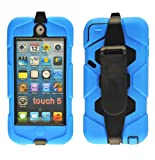 Magic Global Gadgets - New Blue Heavy Duty Builders Armour Triple Defender Tough Survivor Military Shockproof Hard Case Cover For Apple iPod Touch 5 5th Gen Generation With Belt Clip & Built in Screen Guard