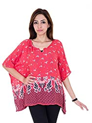 KASHANA Viscose Crepe Red Printed Plus Size Women Ladies Casual Kaftan Top