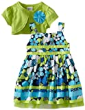 Youngland Baby-girls Infant Floral Dress with Cardigan, Green/Blue, 12 Months