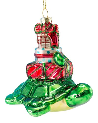 Christmas Ornament – Blown Glass Sea Turtle with Presents on His Back – 3.5″ X 2.75″