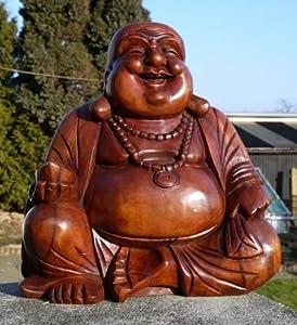 Super schöner 40 cm BUDDHA Happy HOLZ BUDDA FENG SHUI Bali Buda BH40