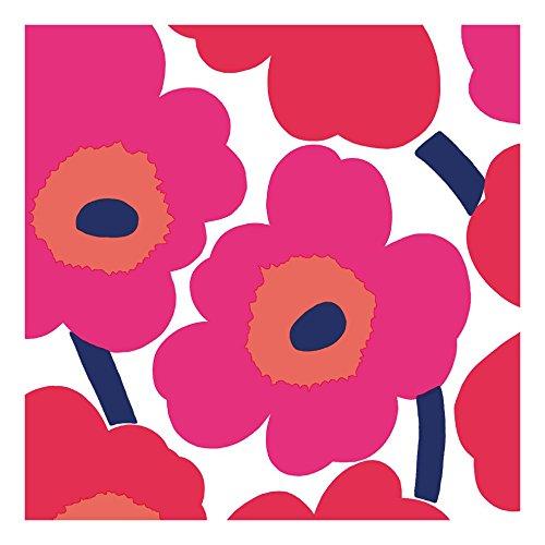 marimekko-designer-finlandais-unikko-rouge-brillant-motif-floral-luxe-serviettes-de-table-de-papier-