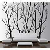 "Large Wall Vinyl Tree Forest Decal Removable Sticker with Birds 96"" (8 Feet) Tall X 113"" Wide #1111"