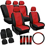 Oxgord 21pc Red & Black PU Leather Seat Cover & 4pc Black Ridge Rubber Floor Mats Set for Pontiac Cars