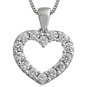 10k White Gold Heart Diamond Pendant Necklace (GH, I1-I2, 0.50 carat) by Diamond Delight
