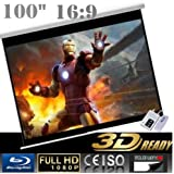"""CanadianView 100"""" 16:9 Electric Auto Projector Motorized Projection Screen 16:9 Ratio Remote control Home Competition"""