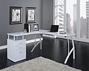 surprising corner office desk furniture | Black or White Corner Computer Desk Home Office PC Table ...