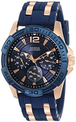 Guess Reloj de hombre cuarzo analógico correa de goma color azul caja de acero U0366G4