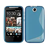 GADGET BOXX HTC DESIRE 310 S-LINE SILICONE GEL IN BLUE COVER CASE AND SCREEN PROTECTOR
