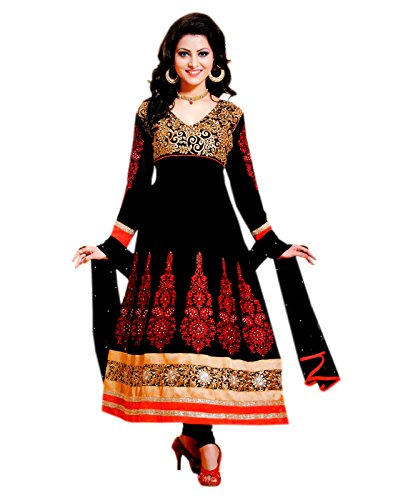 Red Zerel Black And Red Embroidered Georgette Semi Stitched Anarkali Salwar Suit (Multicolor)