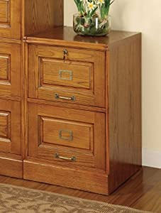 Oak Finish 2-Drawer Letter Size Vertical File Cabinet with Lock