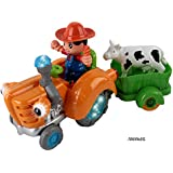 Memtes® Farm Tractor With Cow Wagon & Farmer, Music & Lights, Rides On Its Own & Swings Side To Side, Bump And...
