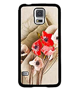 Fuson Premium Floral Art Metal Printed with Hard Plastic Back Case Cover for Samsung Galaxy S5 Mini