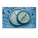 Luxlady Large Gaming Mousepad Vintage compass on snowflakes in blue toning IMAGE 36799245 24 x 15 x 0.2 inches Low Friction Tracking Surface League of Legend Dota 2 WOW Custom