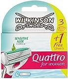 Wilkinson Sword Quattro for Women Sensitive Pack de 4 lames 3 + 1 offerte