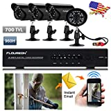 FLOUREON Newest 4CH 960H HDMI CCTV DVR  4 In/Outdoor Bullet Night Vision Camera 700TVL Waterproof IR-Cut Security Cameras Kit 60ft Cables, NO HDD