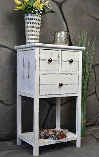 Kommode-Telefontisch-mit-Schubladen-Landhaus-Shabby-Chic-Used-Look-Vintage-70-cm-Hhe-LV1025