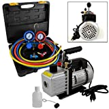 4CFM 1/3HP Rotary Vane Air Vacuum Pump HVAC + R134A AC Refrigeration Kit A/C ...