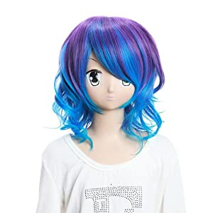SureWells Vocaloid Rin Mixed Purple and Blue Curly Fashion Girls and Ladies Cosplay Wigs Party Wigs Costume Wigs