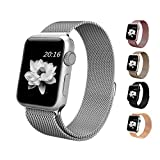 top4cus Apple Watch Band 38mm Milanese Fully Magnetic Closure Clasp Mesh Loop Stainless Steel iWatch Band Replacement Bracelet Strap for Apple Watch 38mm Model- Silver