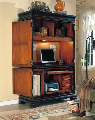 Picture of Comfortable All new item Dark two tone finish wood grand style computer cabinet armoire (B0014B924E) (Computer Armoires)
