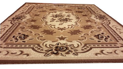 E507 French Aubusson Traditional Medallion Beige Berber Hand Carved 5x8 Actual Size 5'3x7'2 P59.jpg