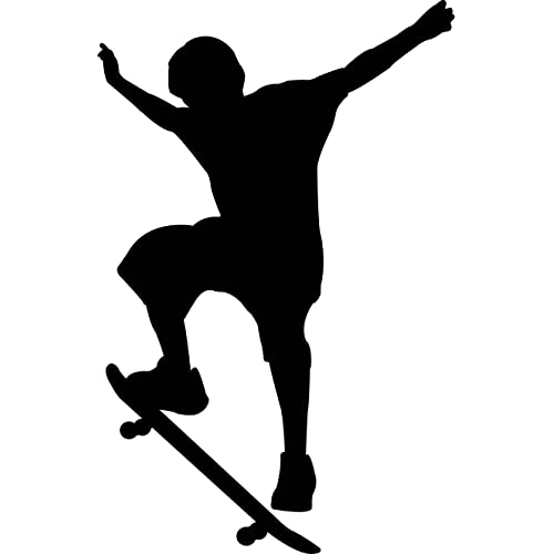 Sports Silhouette Wall Decals - Boy Skateboard 2 Silhouette - 24 inch Removable Graphic
