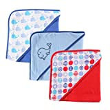 Luvable Friends Hooded Towels, Whale, 3-Count