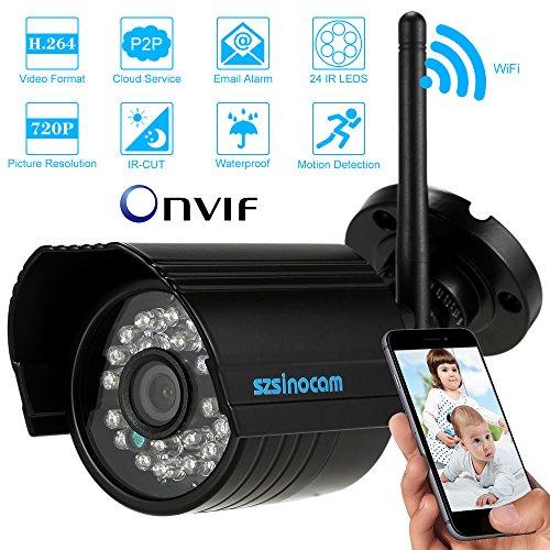 CCTV Überwachungskamera HD 720P P2P Wireless WiFi Netzwerk Kamera (1MP 3,6 mm-Weitwinkelobjektiv) Schwarz