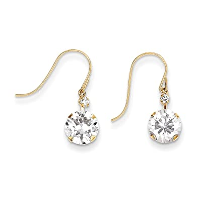 14ct Gold CZ Dangle Earrings