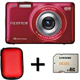 Fujifilm FinePix JX550 Red + Case and 8GB Memory Card (16MP, 5x Optical Zoom) 2.7 inch LCD Screen