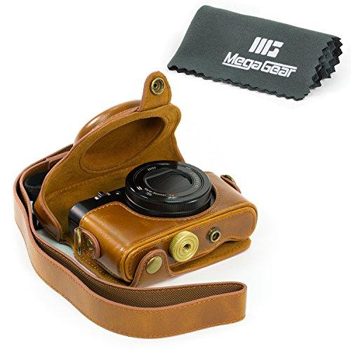 MegaGear Fotocamera Custodia Pelle Borsa Per Sony DSC-RX100M II Cyber-shot, Sony Cyber-shot DSC-RX100 II, DSC-RX100 III, DSC-RX100 IV (Chiaro Marrone)