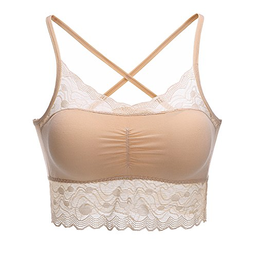 FeelingAngel Full Floral Lace Strapless Seamless Stretchy Bandeau Tube Bra Tops (one size, Beige) (Vape Mod Washers compare prices)
