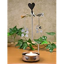 Rotating Heart Tea Light Candle Holder - Silver Hearts That Spin - Silver Metal Scandinavian Design - Rotary Candles...
