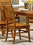 51Ir9uTS0oL. SL160  Set of 2 Dining Chairs Mission Style Medium Brown Finish Reviews