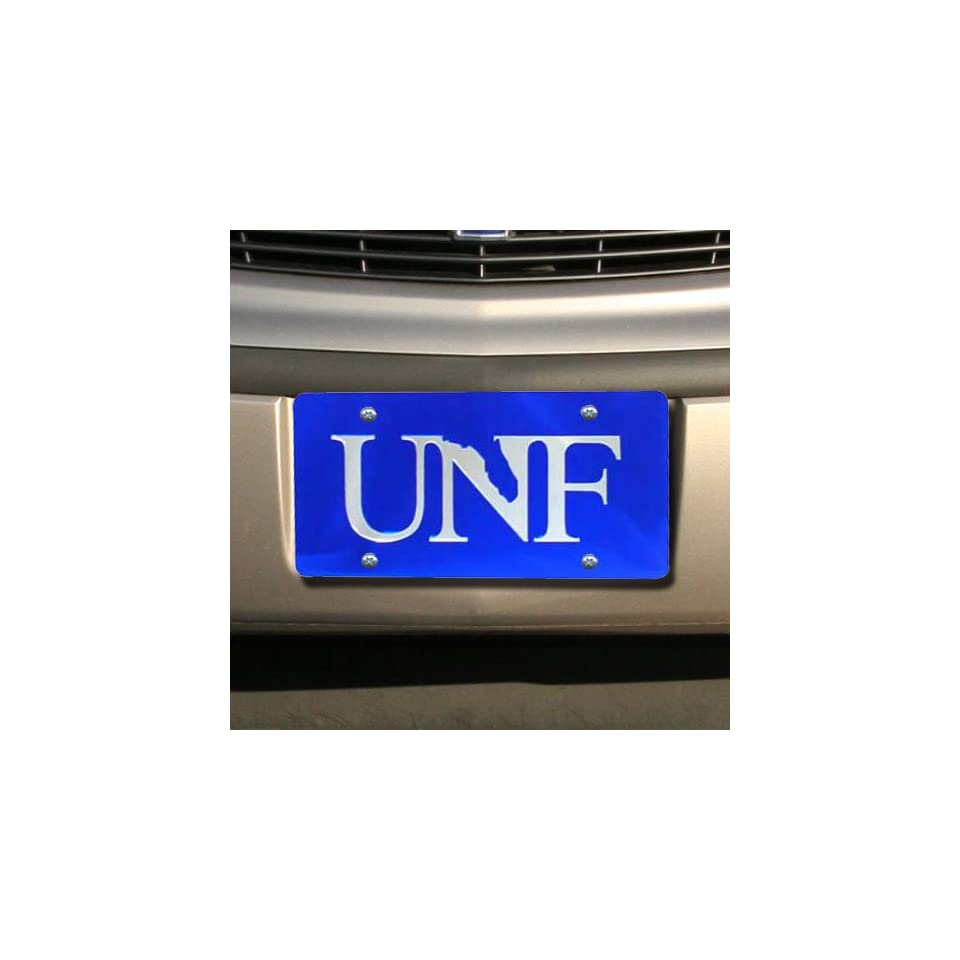NCAA University of North Florida Ospreys Blue with Silver UNF Mirror License Plate