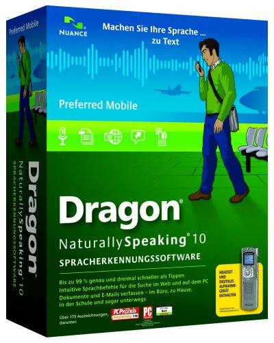 Dragon NaturallySpeaking Preferred Mobile 10.0 - German - w/Recorder (PC DVD)