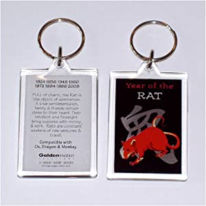 Asian Oriental Chinese Zodiac Key Fob Ring Chain Year of the Rat Born 1912 1924 1936 1948 1960 1972 1984 1996 2008